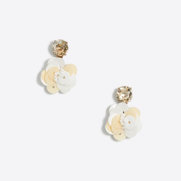 Sequin flower dangle earrings