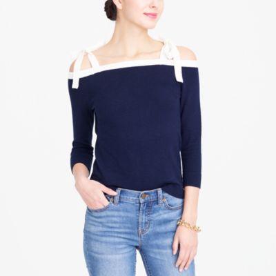 Tie cold-shoulder sweater factorywomen new arrivals c