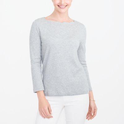 Scalloped T-shirt factorywomen the score: bell-sleeve peplum tops and scalloped tops c